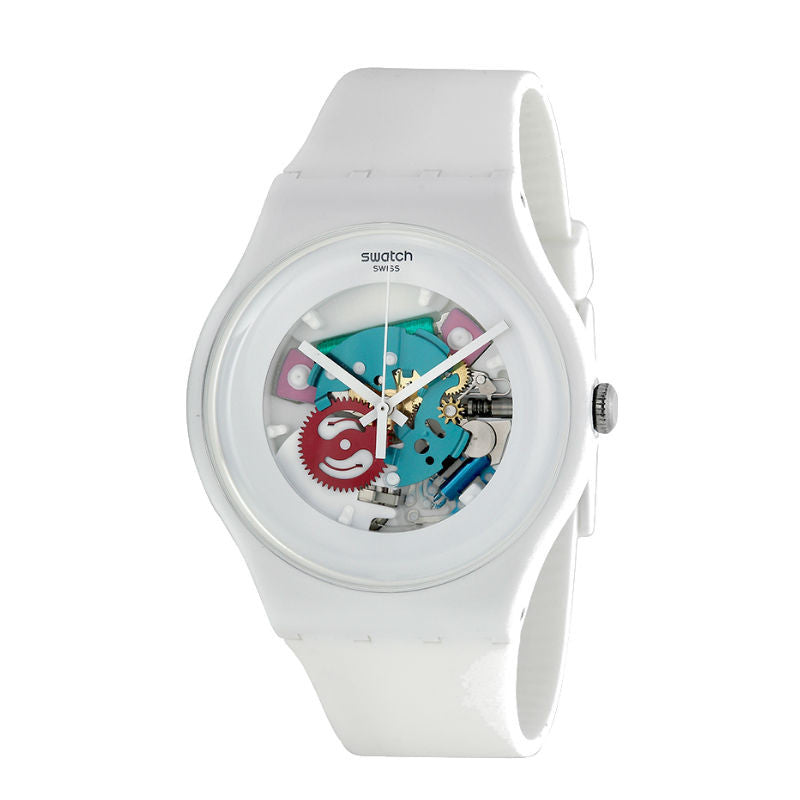 Swatch White Lacquered SUOW100 Watch (New with Tags)