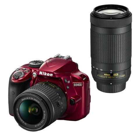 Nikon D3400 Red Digital SLR Camera with 18-55mm VR and 70-300mm ED Lens