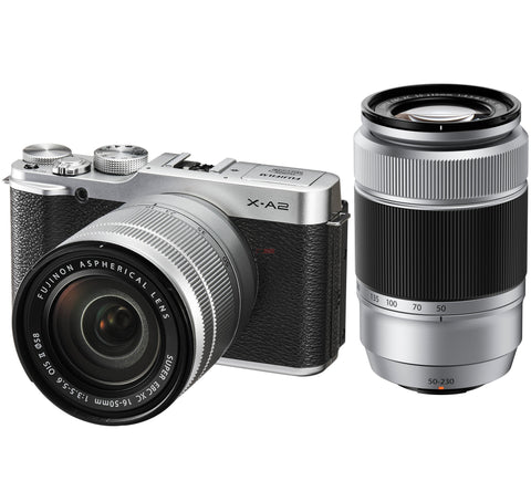 Fuji Film X-A2 with 16-50mm and 50-230mm Silver Mirrorless Digital Camera