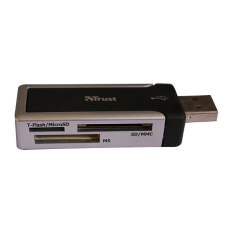 3-in-Line Card Reader High Speed USB 2.0 TF/SD/MS (Negro)