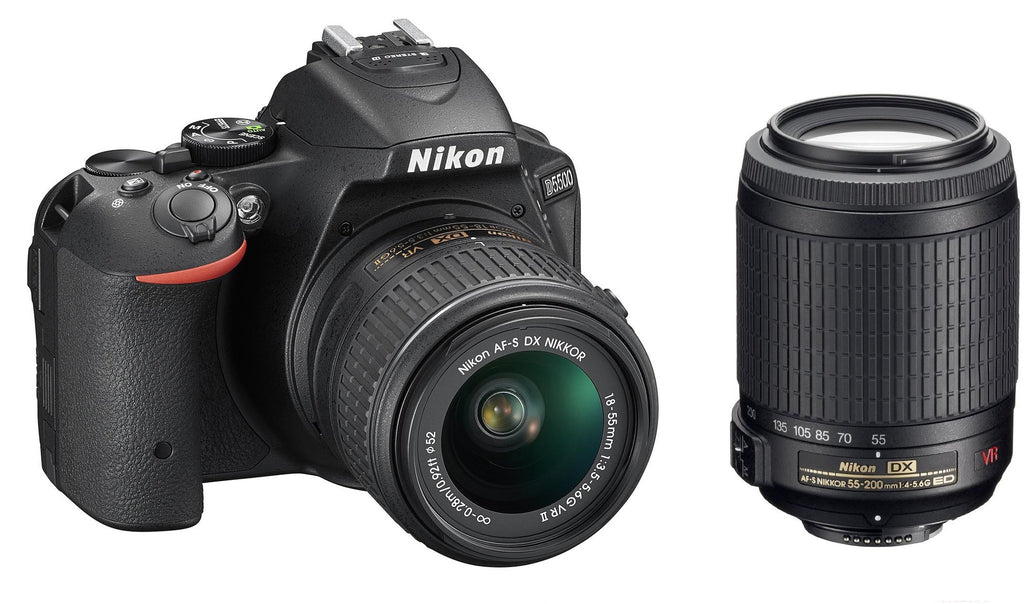 Nikon D5500 Kit con18-55mm VR IIy 55-200mm Negro Réflex Digital