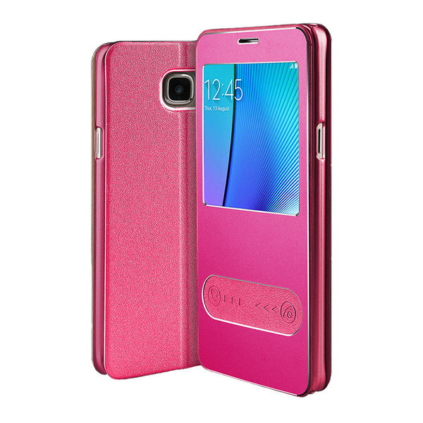 Samsung Galaxy Note 5 Leather Flip Cover (Rose rojo)