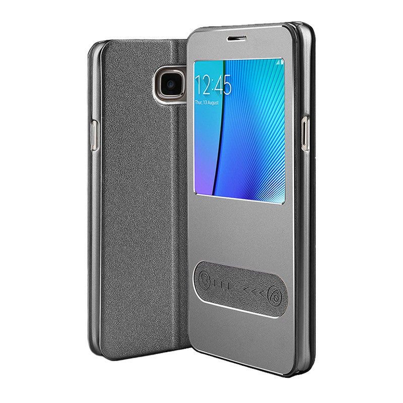 Samsung Galaxy Note 5 Leather Flip Cover (Space Grey)