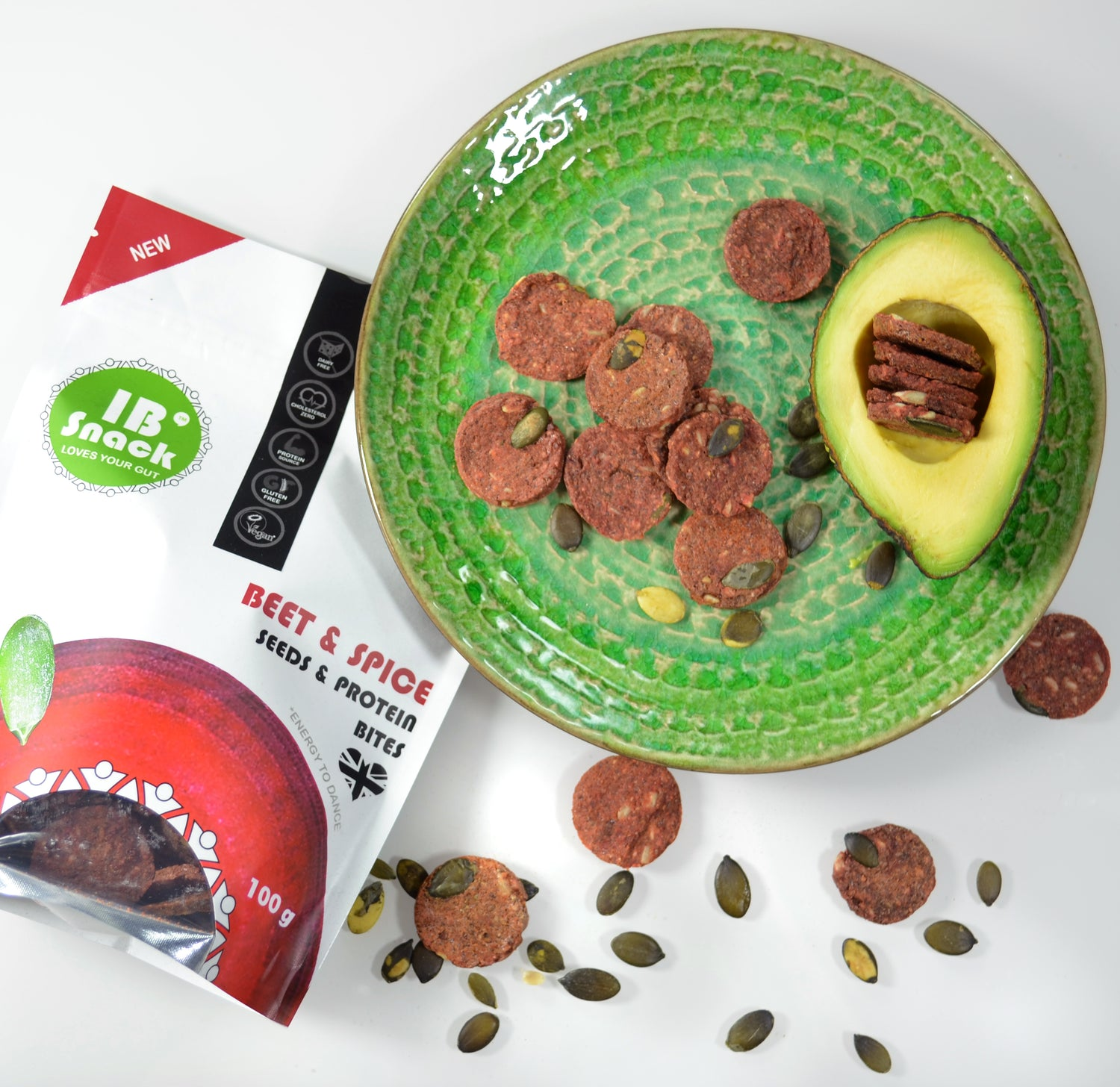 IB Snack - Savoury, Seeds & Protein Crackers - Beetroot & Spice - love your gut!