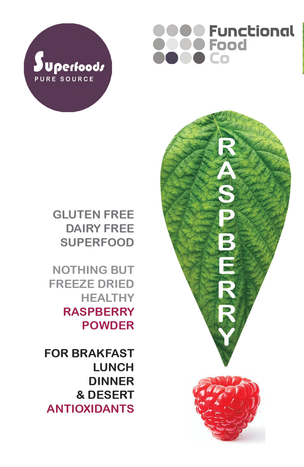 Functional Foods - Organic Freeze Dried Raspberry Powder