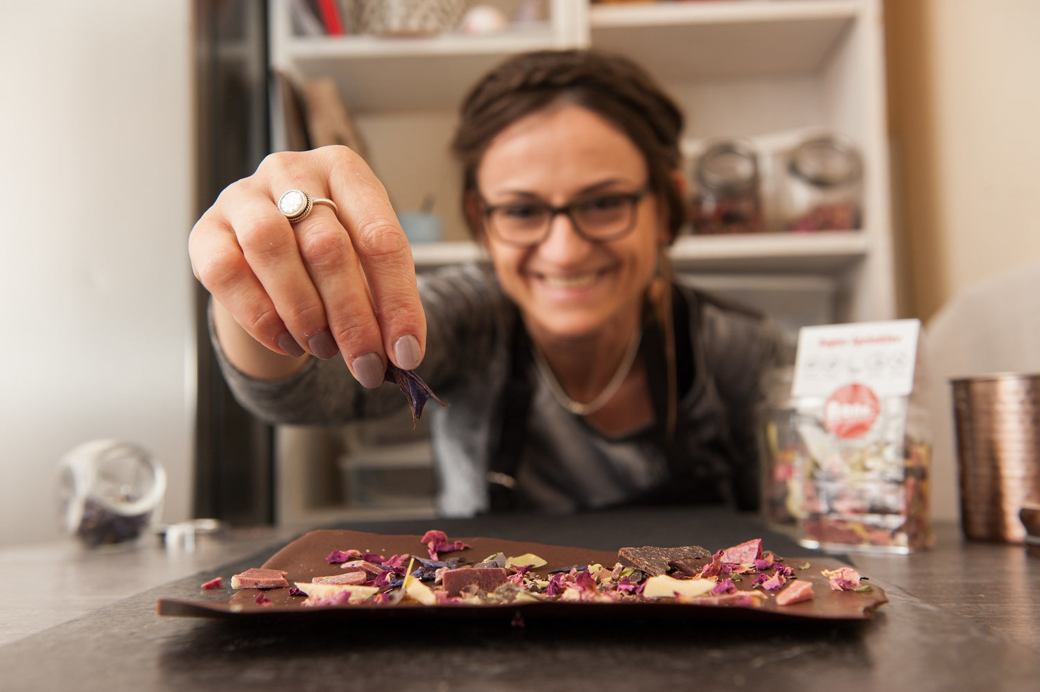 Alessandra Bester in the kitchen baking