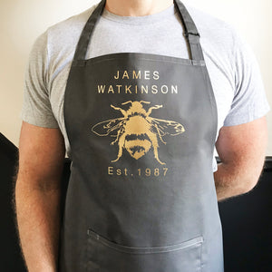 Personalised Bee Print Apron