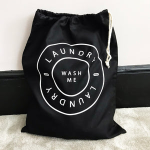 Home And Travel 'Wash Me' Black Laundry Bag