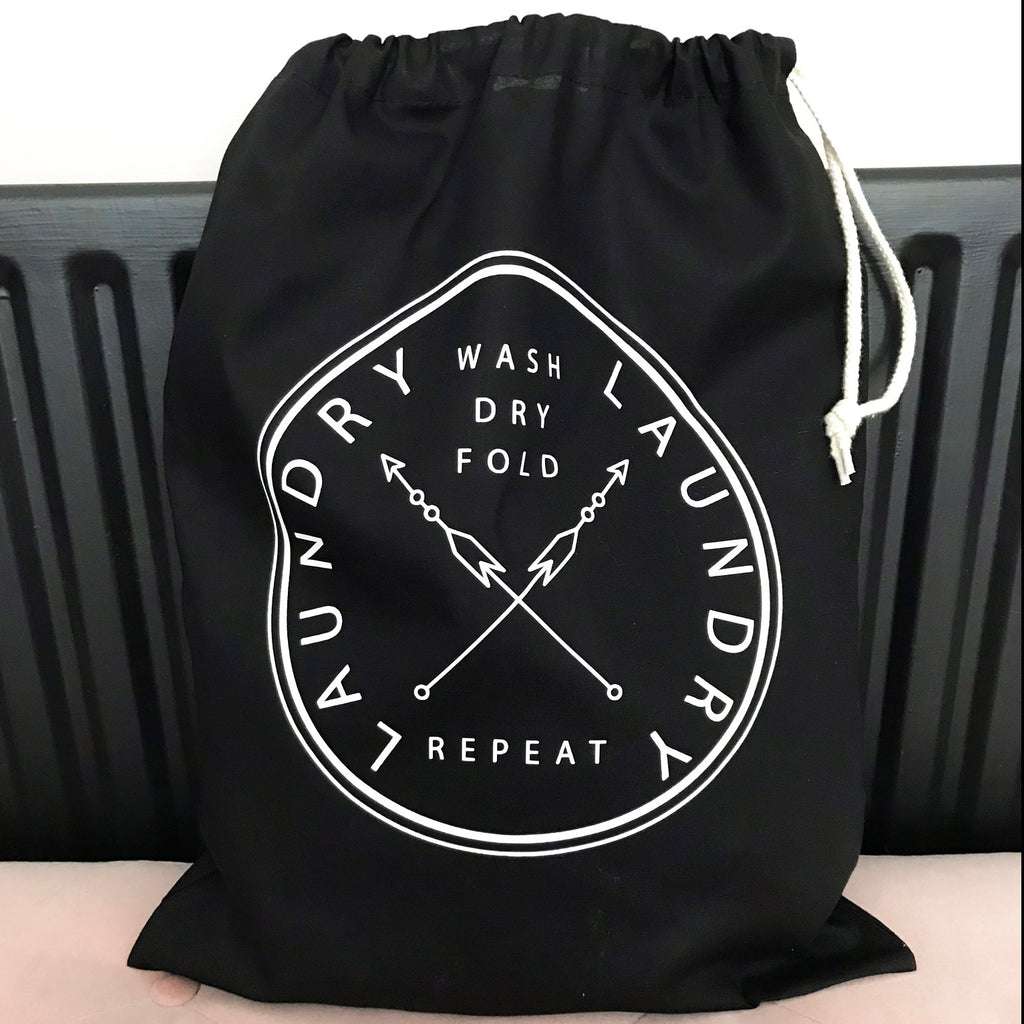 Wash Dry Fold Repeat, Laundry Bag in Black