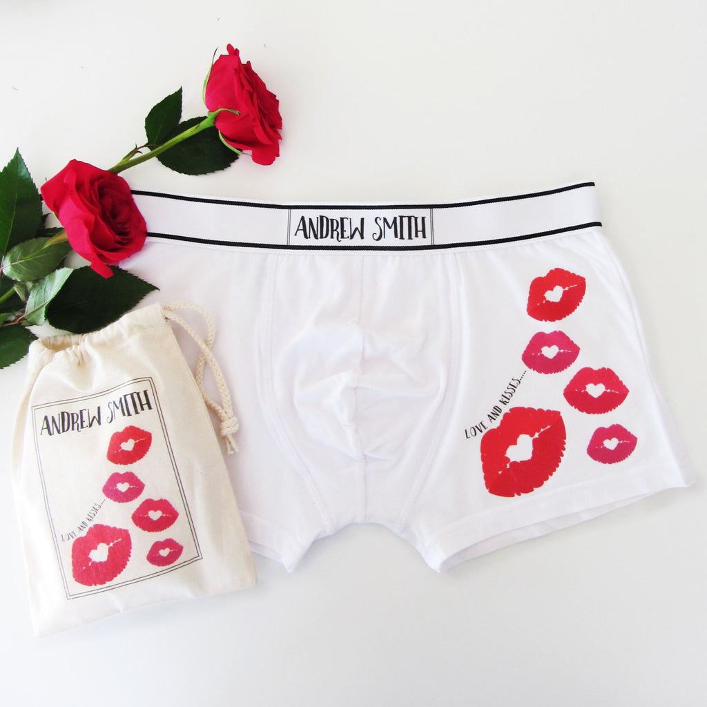 Love And Kisses, Personalised Men's Boxer Briefs