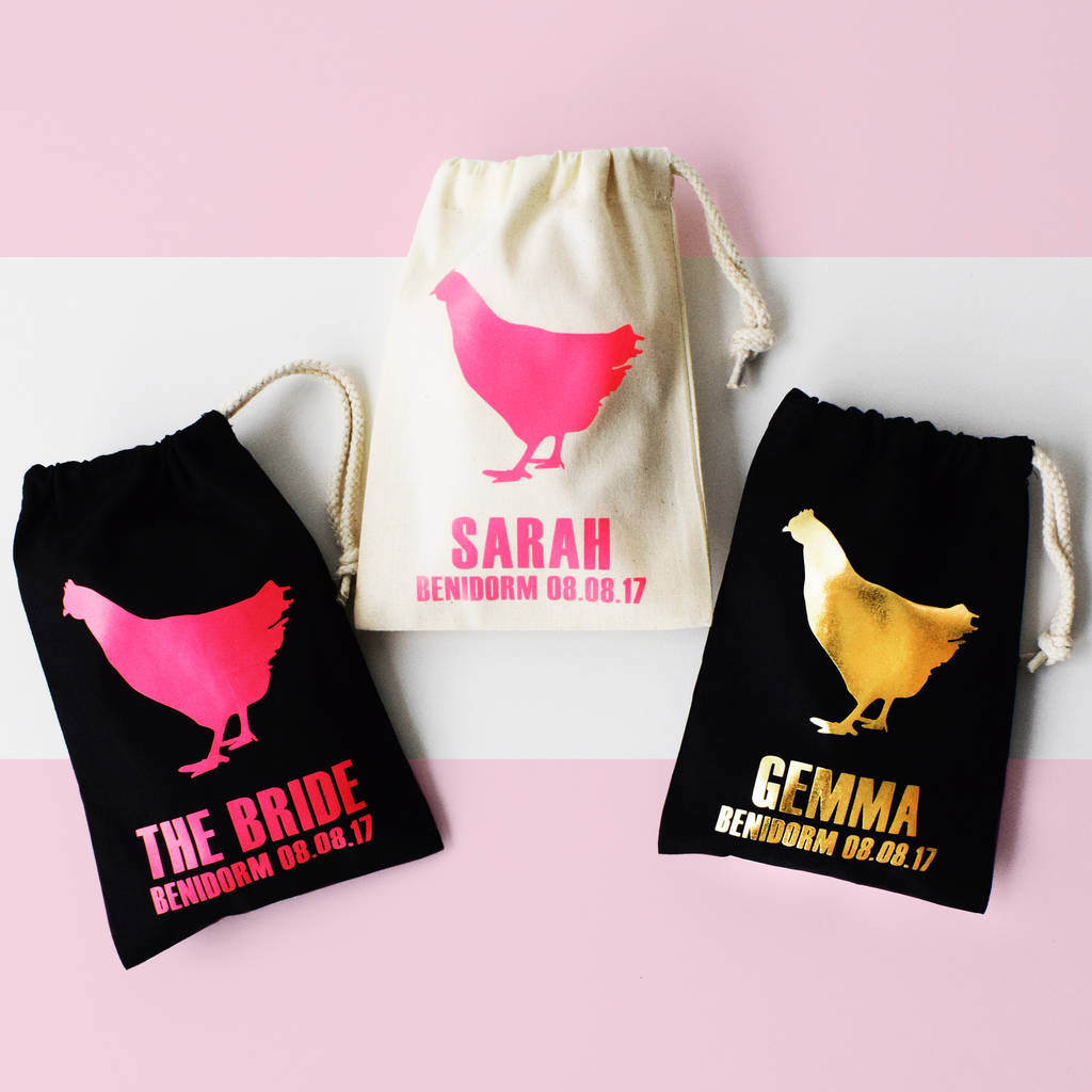 Personalised Hen Party Bags, Big Hen, Personalized Bachelorette Party Bag