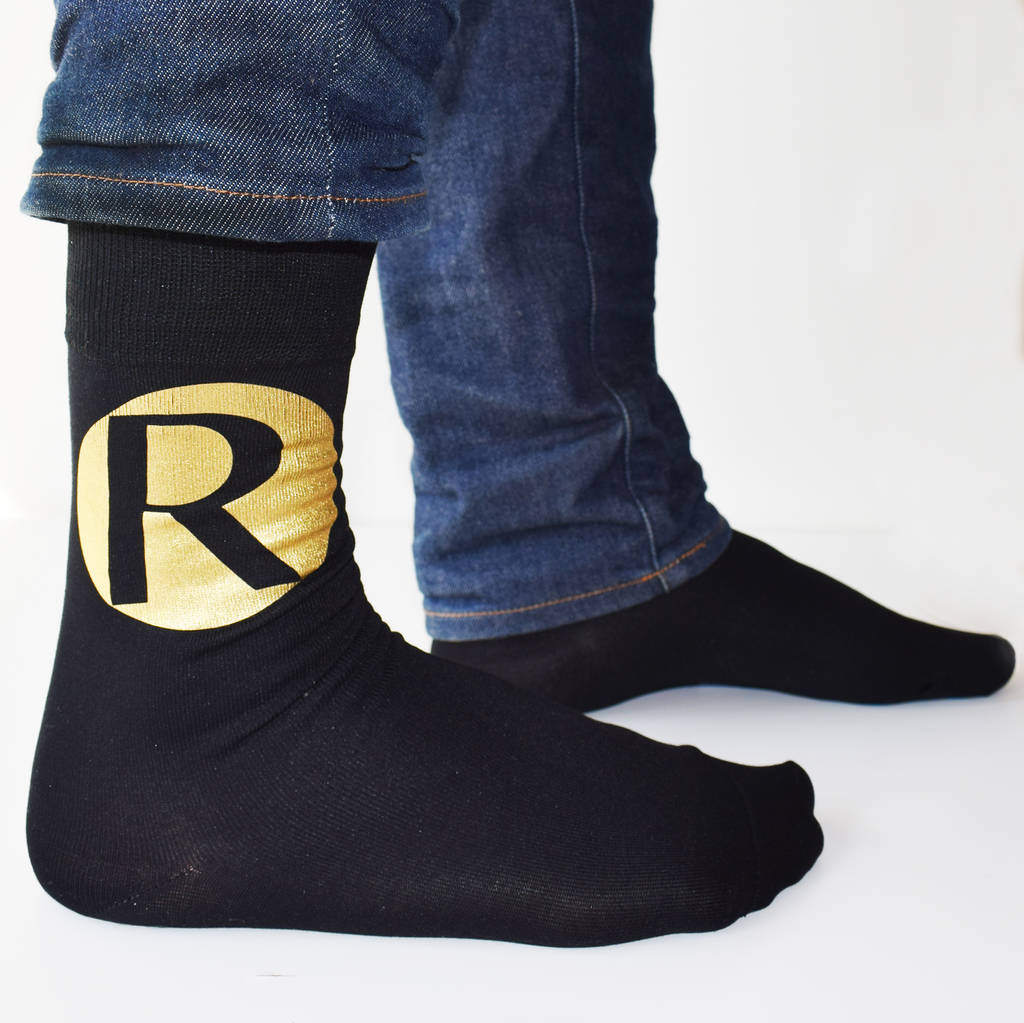 Personalised Bold Initials Mens Gift Socks