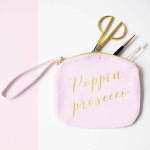 Poppin Prosecco Make Up Canvas Pouch, Clutch bag