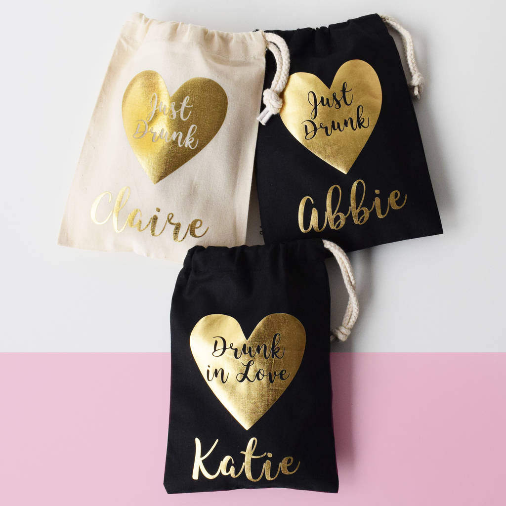 Personalised Drunk In Love, Hen Party Bags, Personalized Bachelorette Party Bag