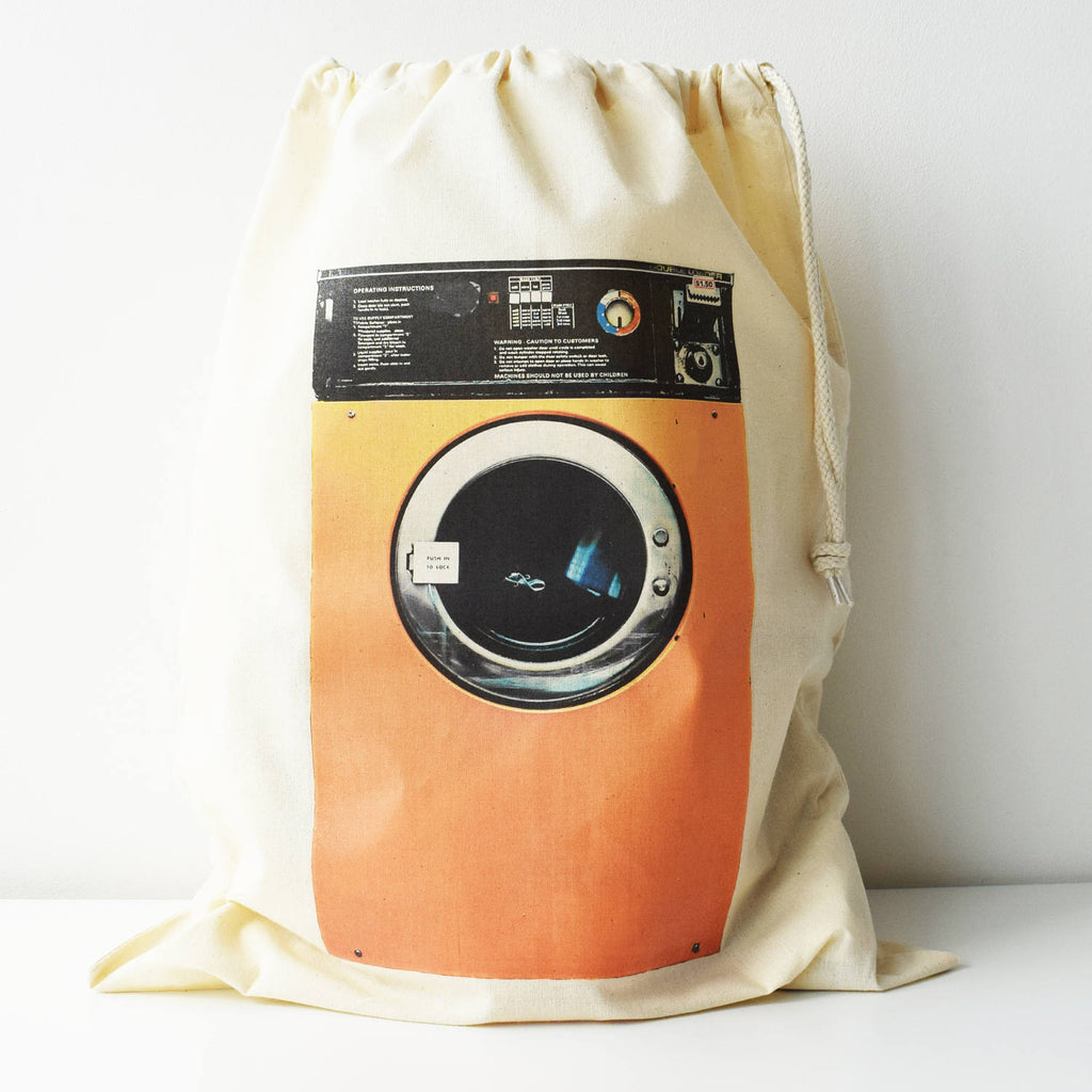 Laundry Bag, Washing Machine Print, Drawcord Cotton Bag, Storage Bag, 100% Cotton