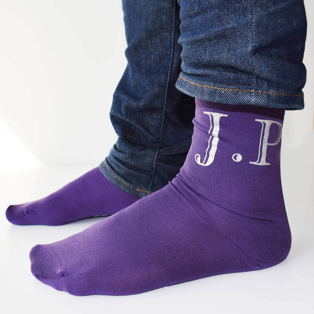 Personalised Classic Monogram Initials Mens Socks