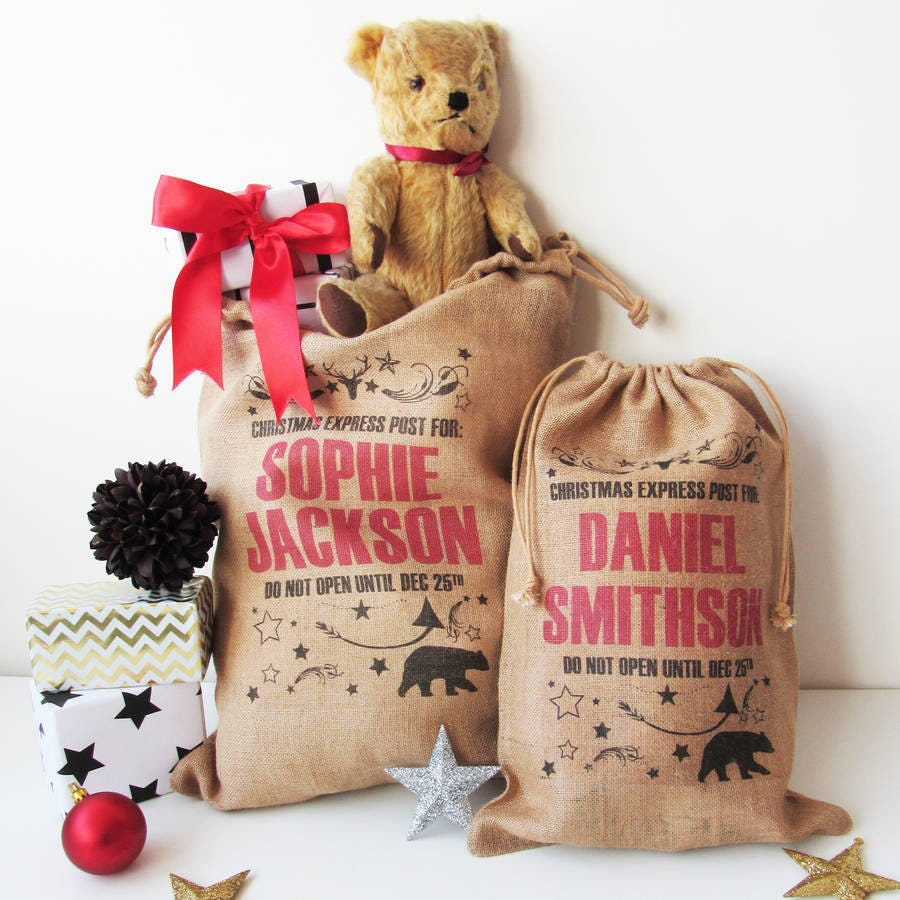 Personalised Christmas Sack With Bear Print, Burlap Sack, Gift Sack