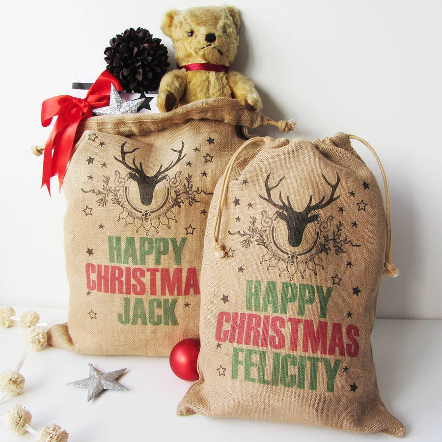 Personalised Christmas Sack With Stag Print, Burlap Sack, Gift Sack