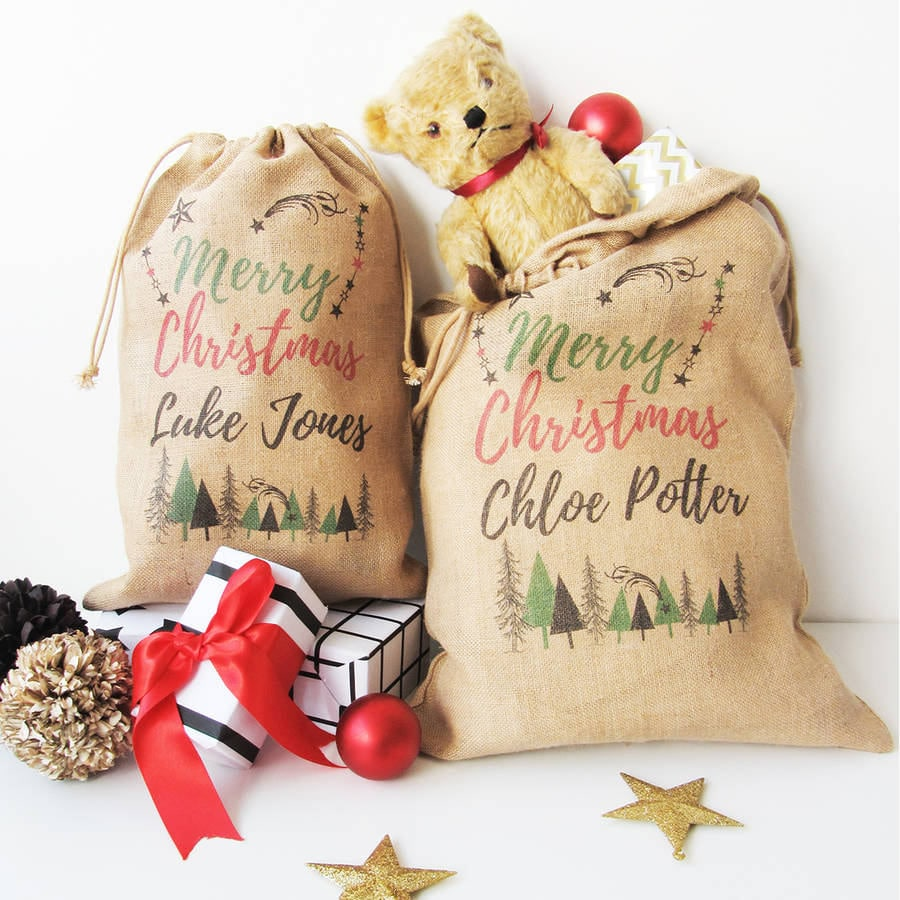 Personalised Christmas Sack With Trees Print, Burlap Sack, Gift Sack