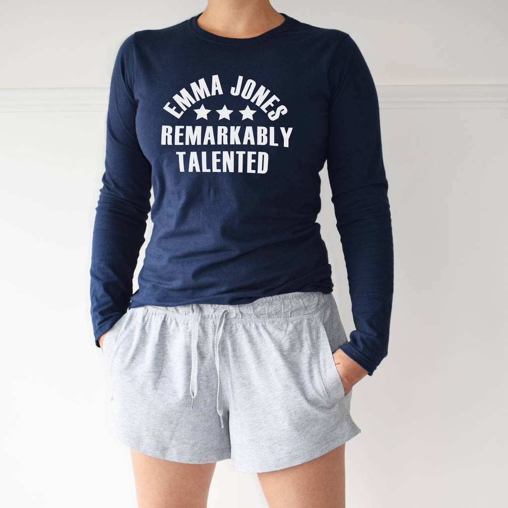 Personalised Remarkably Talented Loungewear Pyjama Set, PJ Set