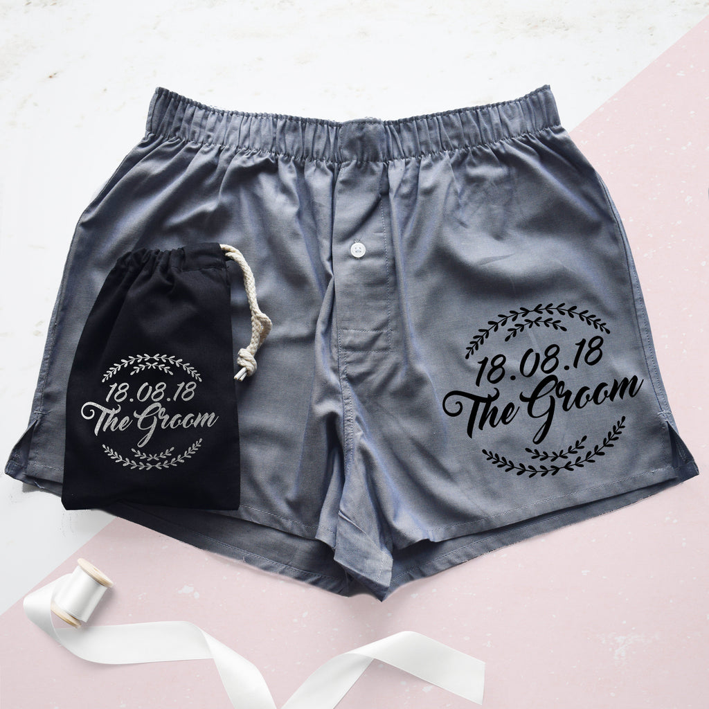 Groom And Date Wreath Wedding Boxer Shorts