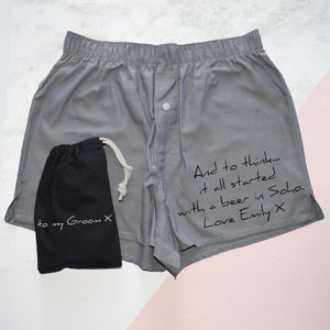 Personalised Love Note, Groom's Wedding Boxer Shorts