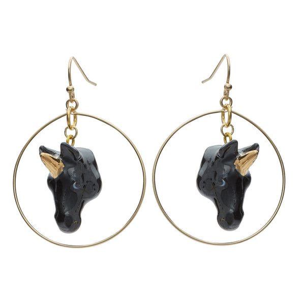 Black and Gold Unicorn Hoop Drop Earrings, was £45