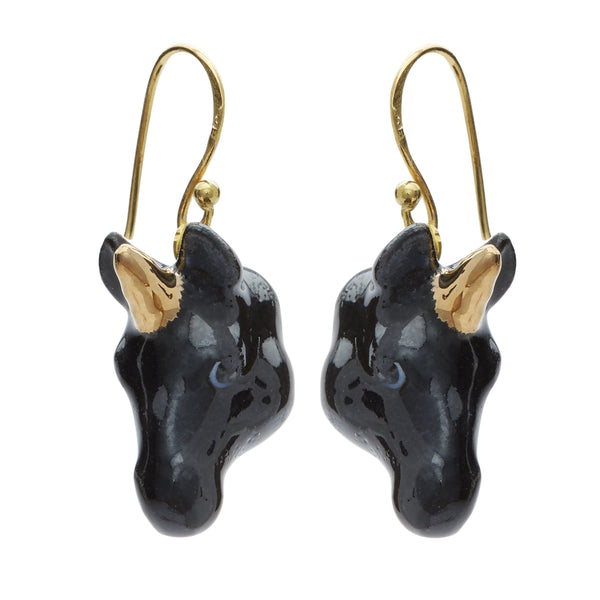 Black and Gold Unicorn Drop Earrings, was £45