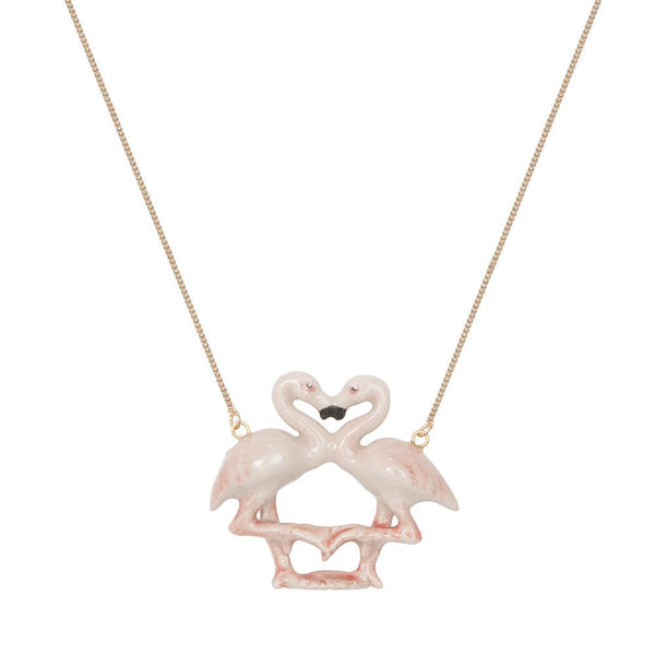 Pastel Flamingo Kissing Necklace, was £38