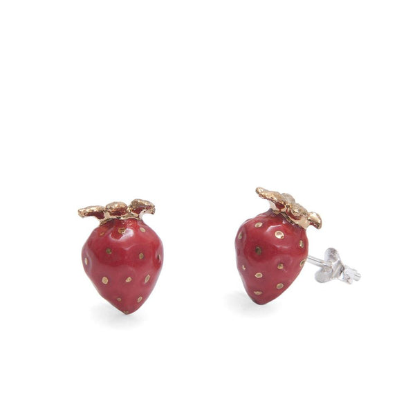 Perfectly Imperfect Gold Leaf Strawberry Studs - Was £35