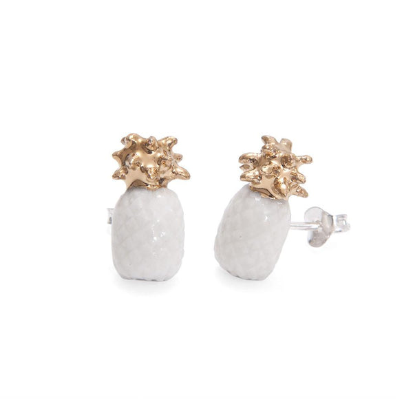 Perfectly Imperfect White Pineapple Studs - Was £38