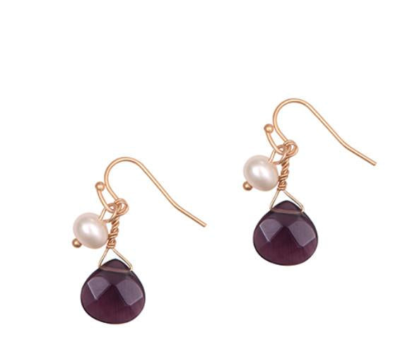 Purple Drop Stone earrings with natural pearl Was £18