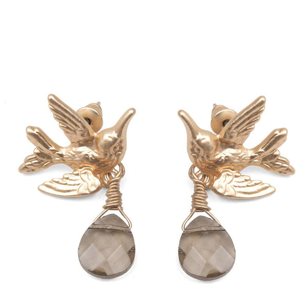 Humming Bird Earrings With Smokey Grey Drop Stone Was £18