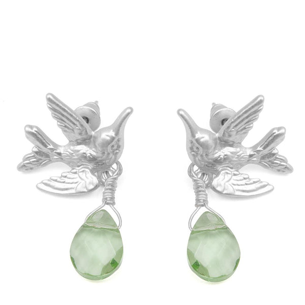 Humming Bird Earrings With Light Green Drop Stone Was £18