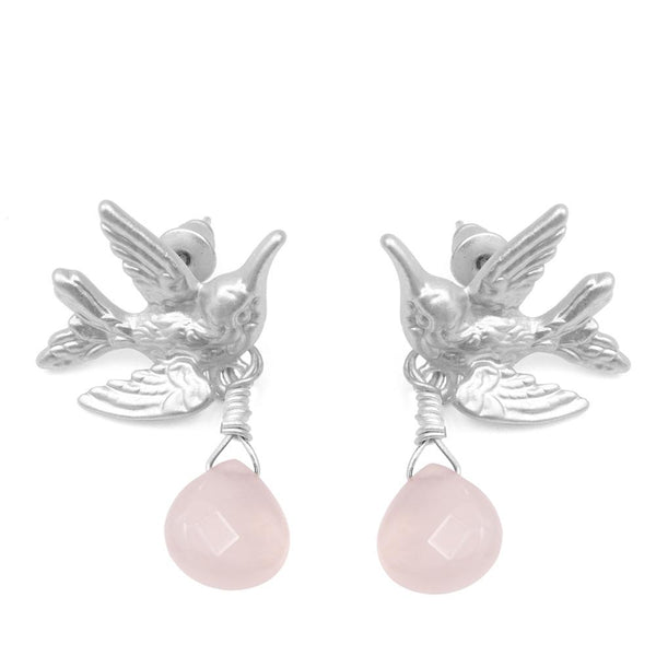 Humming Bird Earrings With Pale Pink Drop Stone Was £18