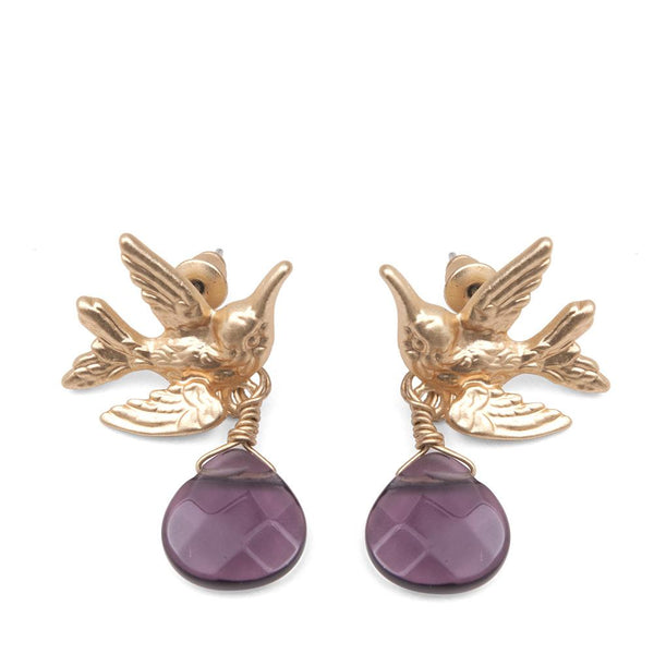 Humming Bird Earrings With Purple Drop Stone Was £18