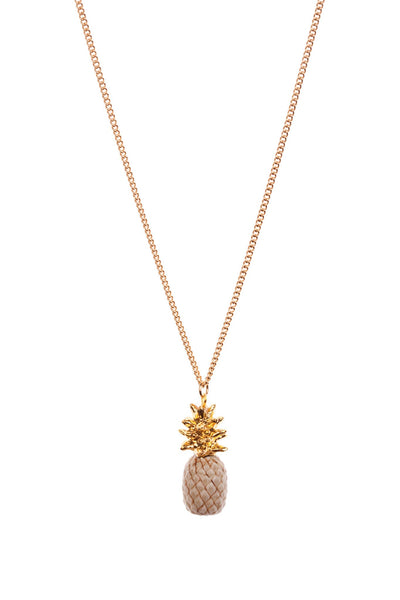 Perfectly Imperfect Beige Pineapple Necklace with Gold Leaves Was £35