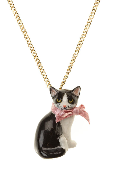Perfectly Imperfect Black & White Cat Necklace Was £32