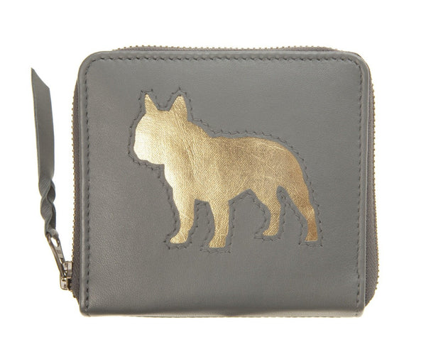 Charcoal Leather Single Bulldog Cut Out Purse, was £45