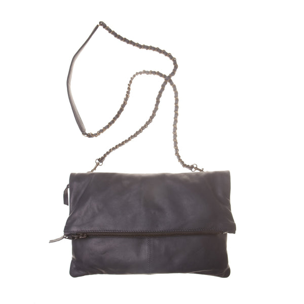 Italian Leather Navy Foldover Bag Was £69