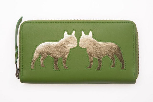 Apple Green Leather Kissing Bulldog Cut Out Purse, was £50