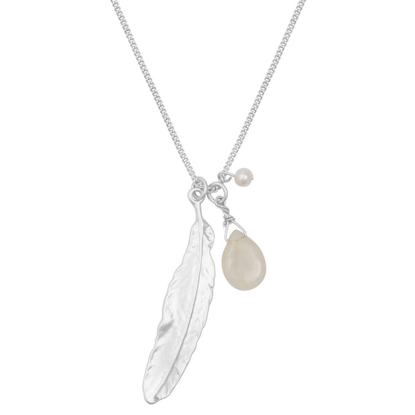 Silver Feather, Jade and Pearl Charm Necklace Was £18