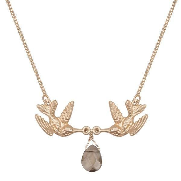 Kissing Humming Bird With Smokey Drop Stone Necklace Was £18