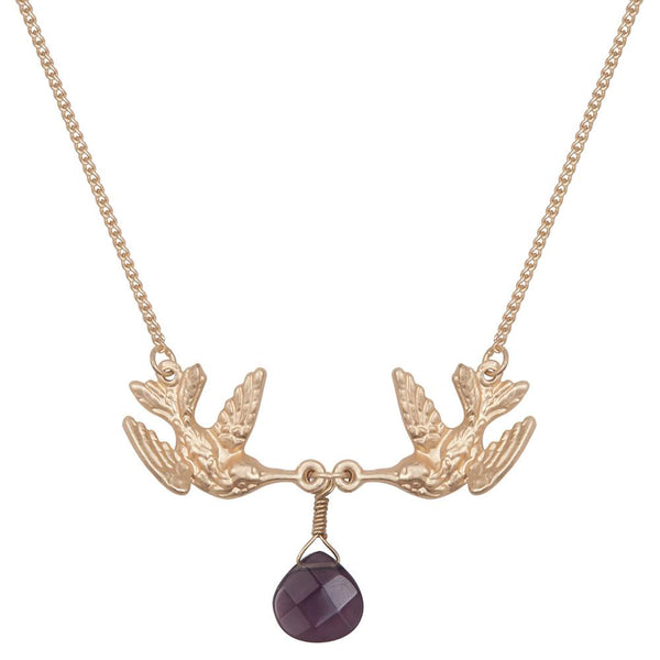 Kissing Humming Bird With Purple Drop Stone Necklace Was £18