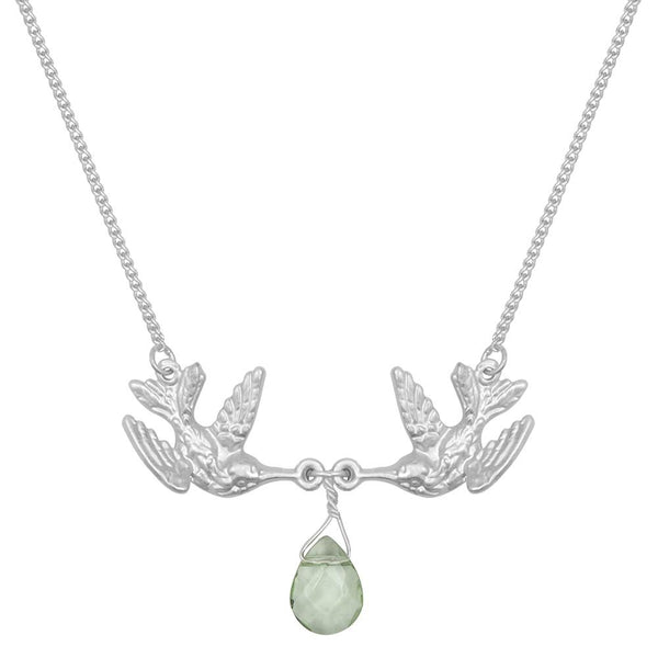 Kissing Humming Bird With Green Drop Stone Necklace Was £18