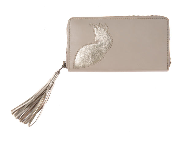 Soft Putty Leather Cockatoo Cut Out Tassel Purse, was £60