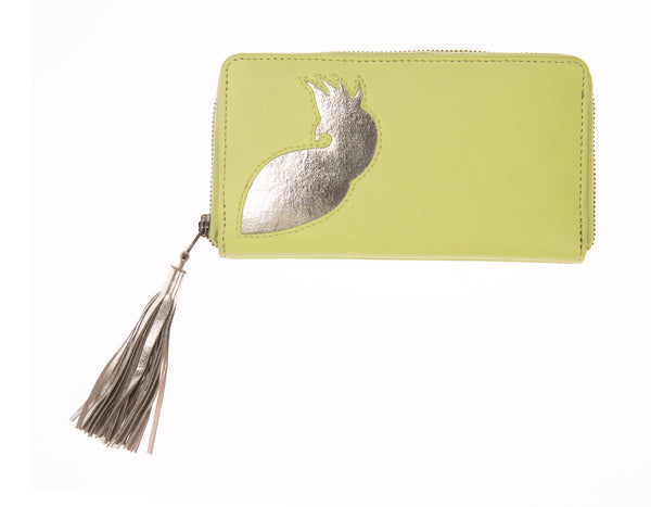 Lime Leather Cockatoo Cut Out Tassel Purse, was £60