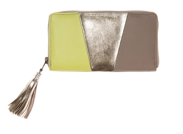 Lime, Soft Putty And Soft Gold Leather Panel Tassel Purse, was £60