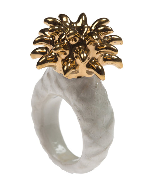 Perfectly Imperfect White & Gold Pineapple Ring Was £50