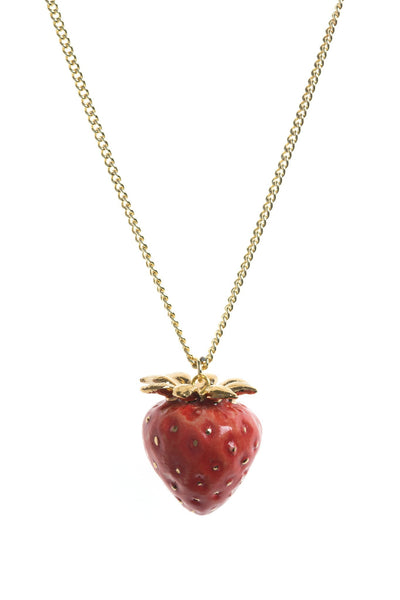 Perfectly Imperfect Gold Leaf Strawberry Necklace Was £35